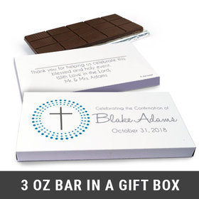 Deluxe Personalized Confirmation Boy's Dotted Calvary Cross Chocolate Bar in Gift Box (3oz Bar)
