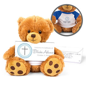 Personalized Boy's Radiant Cross Teddy Bear with Belgian Chocolate Bar in Deluxe Gift Box