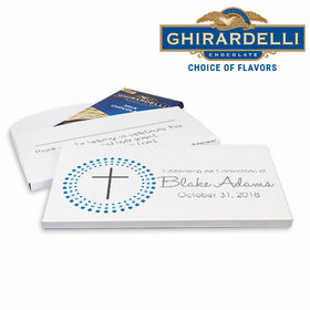 Deluxe Personalized Boy Calvery Cross Confirmation Ghirardelli Chocolate Bar in Gift Box