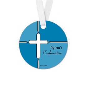 Personalized Bold Cross Confirmation Round Favor Gift Tags (20 Pack)