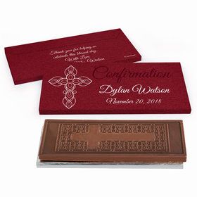 Deluxe Personalized Crimson Cross Confirmation Embossed Chocolate Bar in Gift Box