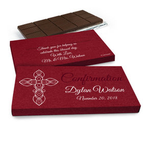 Deluxe Personalized Confirmation Cross in Crimson Chocolate Bar in Gift Box (3oz Bar)