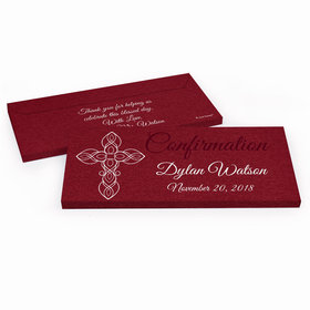 Deluxe Personalized Crimson Cross Confirmation Chocolate Bar in Gift Box