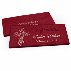 Deluxe Personalized Crimson Cross Confirmation Candy Bar Favor Box