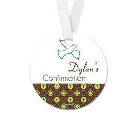 Personalized Soaring Dove Confirmation Round Favor Gift Tags (20 Pack)