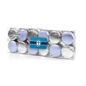 Confirmation Blue Hexagonal Pattern Engraved Cross 12PK Chocolate Covered Oreo Cookies