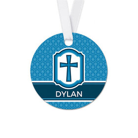 Personalized Framed Cross Confirmation Round Favor Gift Tags (20 Pack)