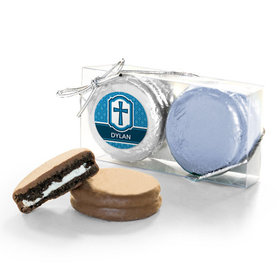 Personalized Confirmation Blue Hexagonal Pattern Engraved Cross 2PK Chocolate Covered Oreo Cookies