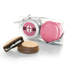 Confirmation Pink Hexagonal Pattern Engraved Cross 2Pk Chocolate Covered Oreo Cookies