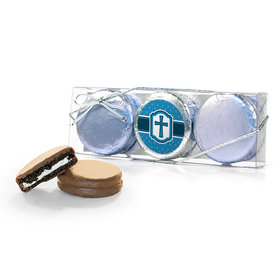 Confirmation Blue Hexagonal Pattern Engraved Cross 3PK Chocolate Covered Oreo Cookies