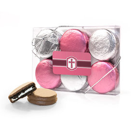 Confirmation Pink Hexagonal Pattern Engraved Cross 6PK Chocolate Covered Oreo Cookies