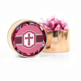 Confirmation Pink Hexagonal Pattern Engraved Cross Hershey's Kisses Medium Plastic Tin