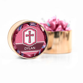 Personalized Confirmation Pink Hexagonal Pattern Engraved Cross Hershey's Kisses Medium Plastic Tin