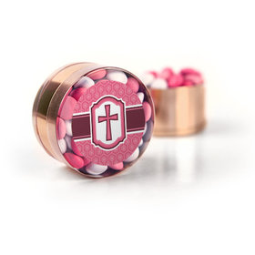 Confirmation Pink Hexagonal Pattern Engraved Cross Chocolate Minis Small Plastic Tin