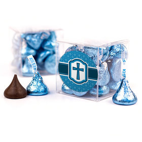 Confirmation Blue Hexagonal Pattern Engraved Cross Clear Gift Box with Sticker