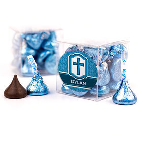 Personalized Confirmation Blue Hexagonal Pattern Engraved Cross Clear Gift Box with Sticker