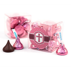 Confirmation Pink Hexagonal Pattern Engraved Cross Clear Gift Box with Sticker