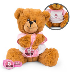 Personalized Girl's Engraved Cross Teddy Bear with Chocolate Coins in XS Organza Bag