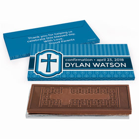 Deluxe Personalized Framed Cross Confirmation Embossed Chocolate Bar in Gift Box