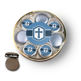 Confirmation Blue Hexagonal Pattern Engraved Cross Chocolate Covered Oreo Cookies Large Plastic Tin