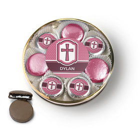 Personalized Confirmation Pink Hexagonal Pattern Engraved Cross Chocolate Covered Oreo Cookies Large Plastic Tin