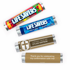 Personalized Confirmation Engraved Cross Lifesavers Rolls (20 Rolls)