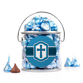 Confirmation Blue Hexagonal Pattern Engraved Cross Silver Paint Can with Sticker