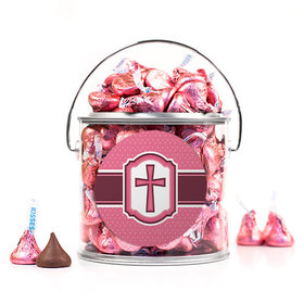 Confirmation Pink Hexagonal Pattern Engraved Cross Silver Paint Can with Sticker