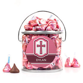 Personalized Confirmation Pink Hexagonal Pattern Engraved Cross Silver Paint Can with Sticker