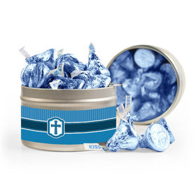 Confirmation Blue Hexagonal Pattern Engraved Cross 8oz Tin with Label