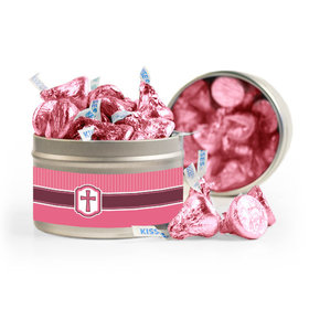 Confirmation Pink Hexagonal Pattern Engraved Cross 8oz Tin with Label