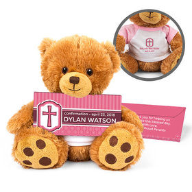 Personalized Girl's Engraved Cross Teddy Bear with Belgian Chocolate Bar in Deluxe Gift Box