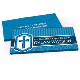 Deluxe Personalized Framed Cross Confirmation Candy Bar Favor Box