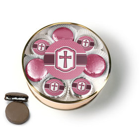 Confirmation Pink Hexagonal Pattern Engraved Cross Chocolate Covered Oreo Cookies Extra-Large Plastic Tin