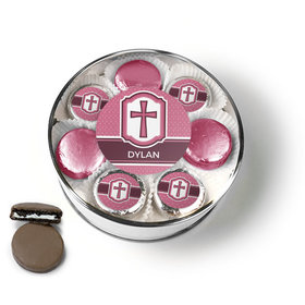 Personalized Confirmation Pink Hexagonal Pattern Engraved Cross Chocolate Covered Oreo Cookies Extra-Large Plastic Tin