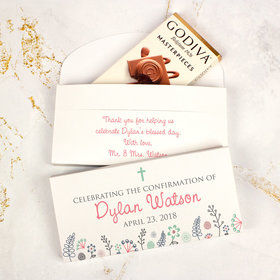 Deluxe Personalized Confirmation Godiva Chocolate Bar in Gift Box- Blooming Flowers