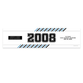 Personalized Class Reunion School Spirit Stripes 5 Ft. Banner