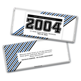 Class Reunion Personalized Chocolate Bar Wrappers School Spirit Stripes