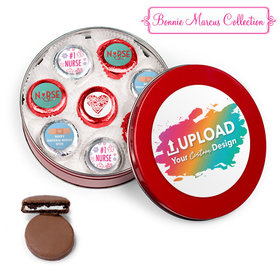 Personalized Nurse Appreication Add Your Logo Red Tin with 16 Belgian Chocolate Covered Oreo Cookies