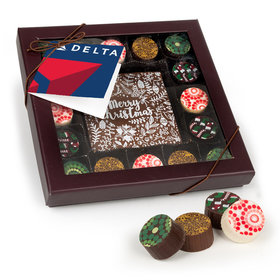 Personalized Merry Christmas Add Your Logo Gourmet Belgian Chocolate Truffle Gift Box (17 pieces)