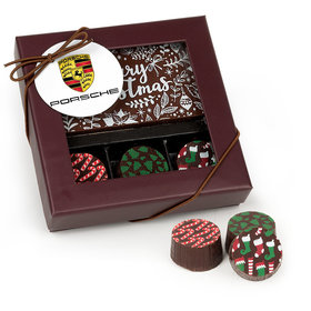 Personalized Christmas Add Your Logo Gourmet Belgian Chocolate Bar and Truffles (3 Truffles)