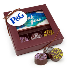 Personalized Thank You Add Your Logo Gourmet Belgian Chocolate Truffle Gift Box (4 pieces)