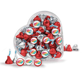 Personalized Add Your Logo Nurse Appreciation Clear Heart Box with Hershey's Kisses 13oz