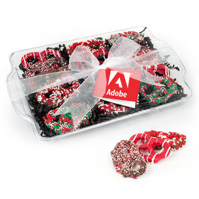Personalized Happy Holidays Add Your Logo Chocolate Covered Pretzel Tray (12 pieces)