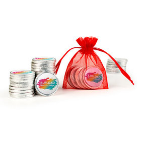 Personalized Add Your Logo Extra Small Organza Bag of Silver Chocolate Coins