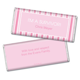 Breast Cancer Awareness Personalized Chocolate Bar Pinstripe Breast Cancer Survivor