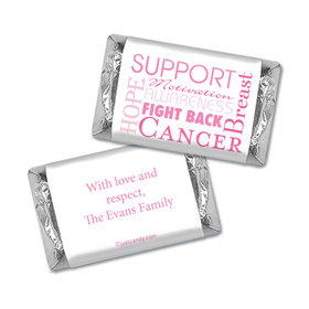Breast Cancer Awareness Personalized HERSHEY'S MINIATURES Wrappers Breast Cancer Words for a Cure