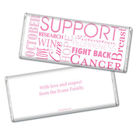 Breast Cancer Awareness Personalized Chocolate Bar Breast Cancer Words for a Cure