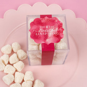 Personalized Breast Cancer Awareness JUST CANDY® favor cube with Jelly Belly Gumdrops