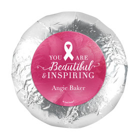 "Personalized 1.25"" Stickers - Breast Cancer Awareness Pink Inspiration (48 Stickers)"